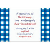 American Summer Blue Gingham Custom Invitation