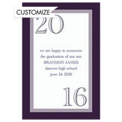 Navy Austere Border Custom Graduation Announcement