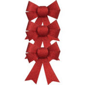 Red Glitter Bows 3 1/2in 3ct