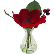 Red Amaryllis and Berries in a Glass Vase 8in