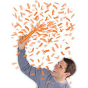 Orange Flutter Confetti Wands 6ct