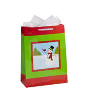 Jumbo Embellished Snowman Cheer Gift Bag 17in
