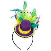 Feathered Mardi Gras Top Hat Headband