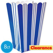 Blue Striped Popcorn Boxes 8ct