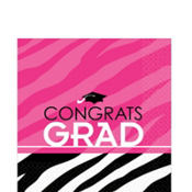 Zebra Party Graduation Lunch Napkins 16ct