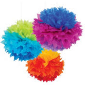 Rainbow Fluffy Decorations 16in 3ct
