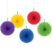 Rainbow Mini Fan Decorations 5ct