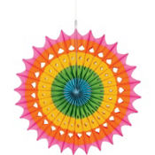 Multicolored Paper Fan Decoration 16in