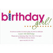 Birthday Girl Text Custom Invitation