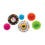 Colorful Commencement Paper Fan Decorations 6ct