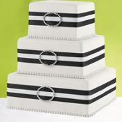 Black Rhinestone Ribbon Cake Decoration