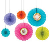 Modern Mommy Paper Fan Decorations 6ct