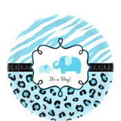 blue safari baby shower dessert plates 18ct