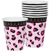 Pink Safari Baby Shower Cups 18ct