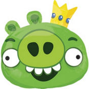 Foil Angry Birds Green Pig Balloon 23in