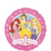Foil 1st Birthday Disney Princess Happy Birthday Balloon 18in