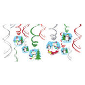 Joyful Snowman Swirl Hanging Decorations 12ct