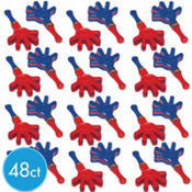 Mini Red & Blue Hand Clappers 3 1/2in 48ct25¢ per piece!