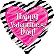 Foil Zebra Valentines Day Balloon 18in