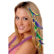 Mardi Gras Feather Hair Extension 18in