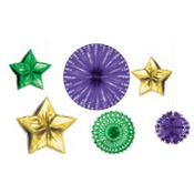 Mardi Gras Foil Starburst Decorating Kit 6pc