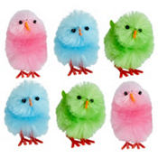 Multicolor Chenille Easter Chicks 1 1/2in 6ct
