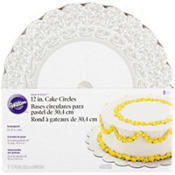 Silver Damask Cake Boards 8ct