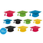Glitter Graduation Cap Cutouts 10ct