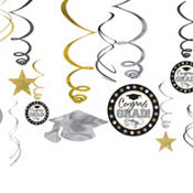Black, Silver & Gold Graduation Swirl Decorations 12ct
