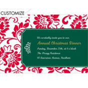Red & Green Damask Border Custom Invitation