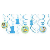 Mickey Mouse 1st Birthday Swirl Decorations 12ct