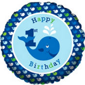 Foil Ocean Preppy 1st Birthday Balloon 18in