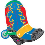 Foil Cowboy Boot Balloon 39in