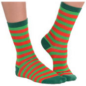 Red and Green Striped Socks