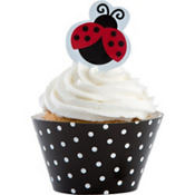 Fancy Ladybug Cupcake Wrappers & Picks for 12