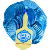 Blue It's a Boy Chocolate Coins 72pc