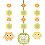Owl Baby Shower String Decorations 3ct
