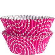 Pink Dot Circles Foil Baking Cups 36ct