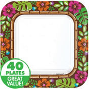 Summer Luau Paper Square Lunch Plates 40ct