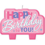 Pink Happy Birthday to You Candle