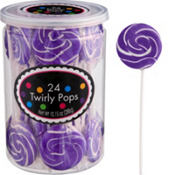 Swirly Purple Lollipops 24pc