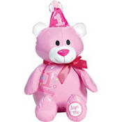 Pink 1st Birthday Autograph Bear Plush