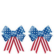 Glitter Patriotic Bow Decorations 2ct