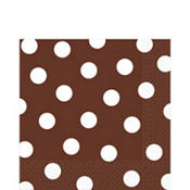 Chocolate Brown Polka Dot Lunch Napkins 16ct