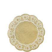 Gold Round Paper Doilies 10in 6ct