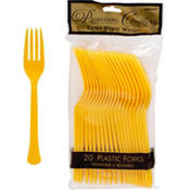Sunshine Yellow Premium Plastic Forks 20ct