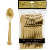 Gold Premium Plastic Spoons 20ct