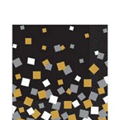 Black, Gold & Silver Squares Lunch Napkins 16ct