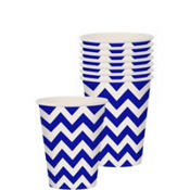 Royal Blue Chevron Paper Cups 8ct