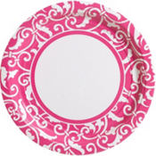 Bright Pink Ornamental Scroll Party Supplies